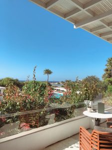 Balcony view at the Grecian Bay Hotel